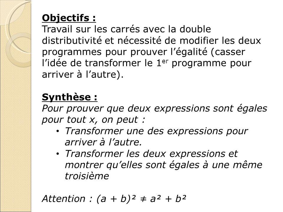Objectifs : Travail sur les carrés avec la double distributivité et nécessité de modifier les deux programmes pour prouver légalité (casser lidée de t