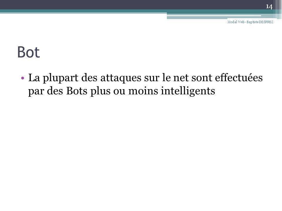 Bot La plupart des attaques sur le net sont effectuées par des Bots plus ou moins intelligents 14 Modal Web - Baptiste DESPREZ