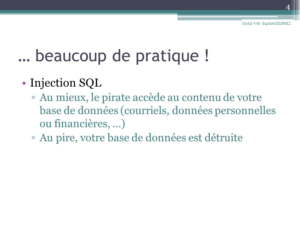 Injection SQL 5 Modal Web - Baptiste DESPREZ