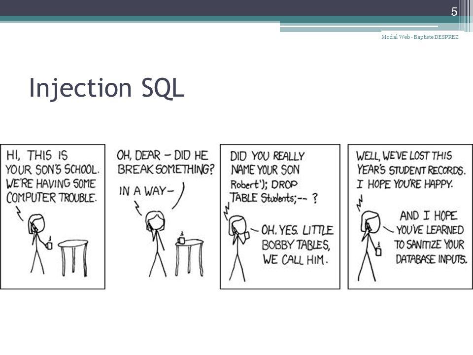 Injection SQL 5 Modal Web - Baptiste DESPREZ