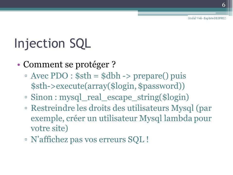 Injection SQL Comment se protéger .