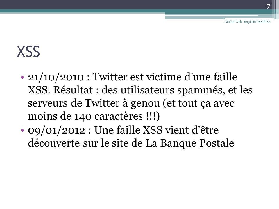 XSS 21/10/2010 : Twitter est victime dune faille XSS.