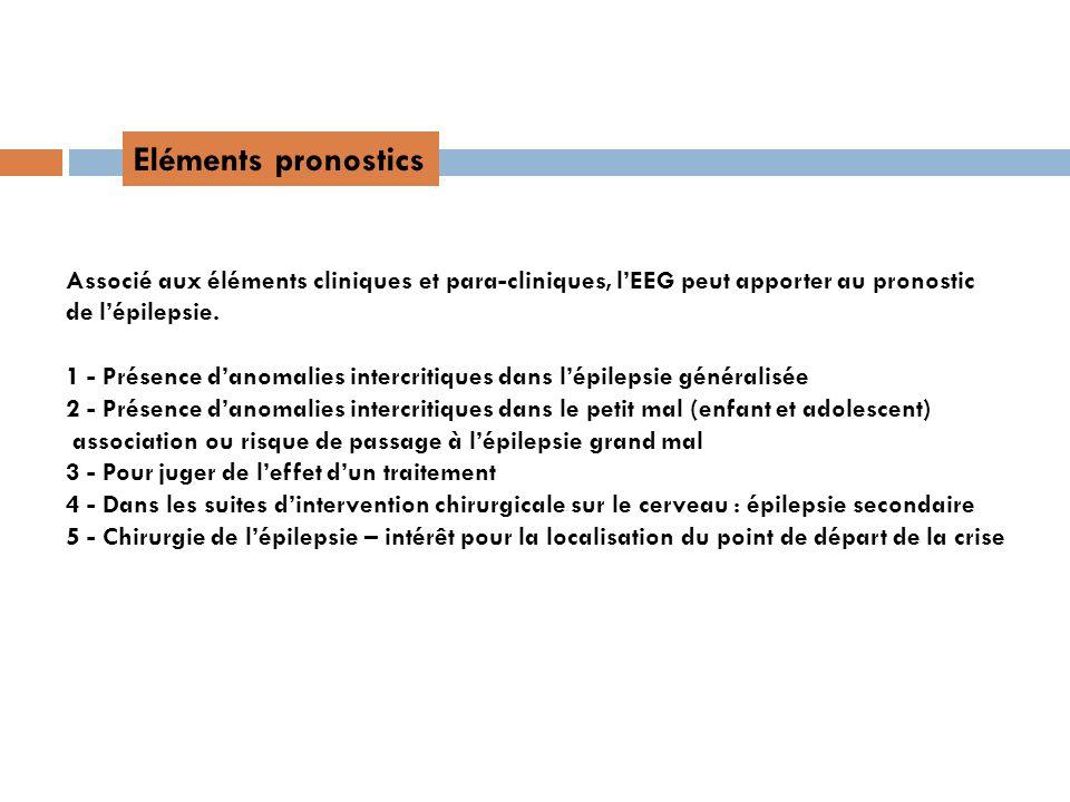 Eléments pronostics Associé aux éléments cliniques et para-cliniques, lEEG peut apporter au pronostic de lépilepsie. 1 - Présence danomalies intercrit
