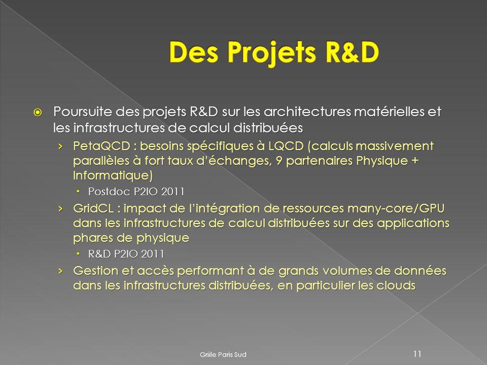 Poursuite des projets R&D sur les architectures matérielles et les infrastructures de calcul distribuées Poursuite des projets R&D sur les architectures matérielles et les infrastructures de calcul distribuées PetaQCD : besoins spécifiques à LQCD (calculs massivement parallèles à fort taux déchanges, 9 partenaires Physique + Informatique) PetaQCD : besoins spécifiques à LQCD (calculs massivement parallèles à fort taux déchanges, 9 partenaires Physique + Informatique) Postdoc P2IO 2011 Postdoc P2IO 2011 GridCL : impact de lintégration de ressources many-core/GPU dans les infrastructures de calcul distribuées sur des applications phares de physique GridCL : impact de lintégration de ressources many-core/GPU dans les infrastructures de calcul distribuées sur des applications phares de physique R&D P2IO 2011 R&D P2IO 2011 Gestion et accès performant à de grands volumes de données dans les infrastructures distribuées, en particulier les clouds Gestion et accès performant à de grands volumes de données dans les infrastructures distribuées, en particulier les clouds Griile Paris Sud 11