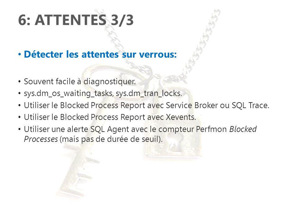 6: ATTENTES 3/3 Détecter les attentes sur verrous: Souvent facile à diagnostiquer. sys.dm_os_waiting_tasks, sys.dm_tran_locks. Utiliser le Blocked Pro