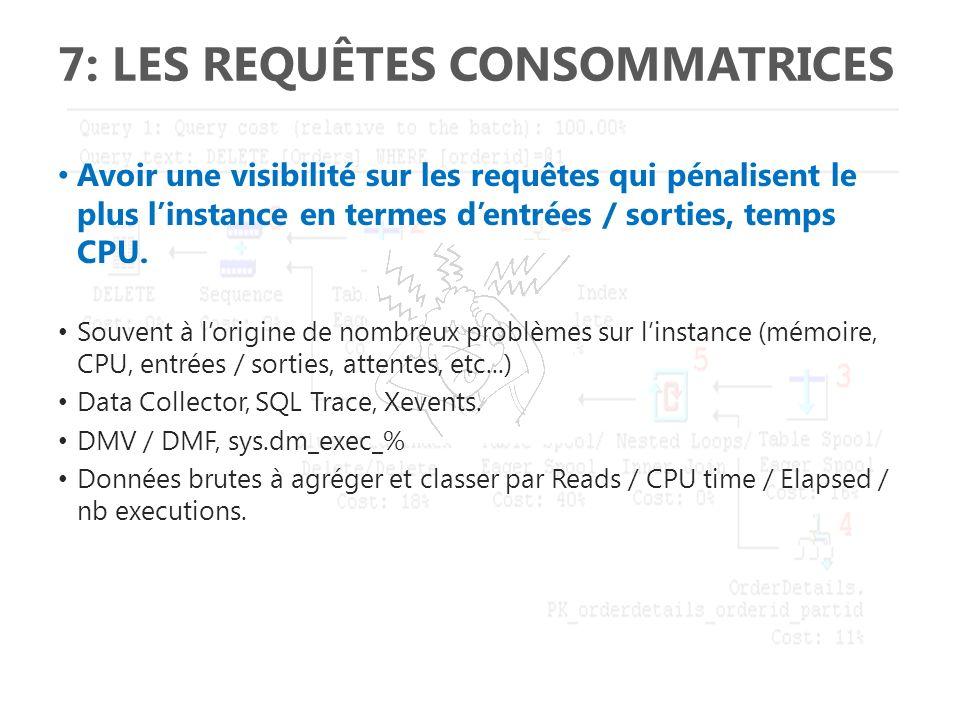 7: LES REQUÊTES CONSOMMATRICES Avoir une visibilité sur les requêtes qui pénalisent le plus linstance en termes dentrées / sorties, temps CPU. Souvent
