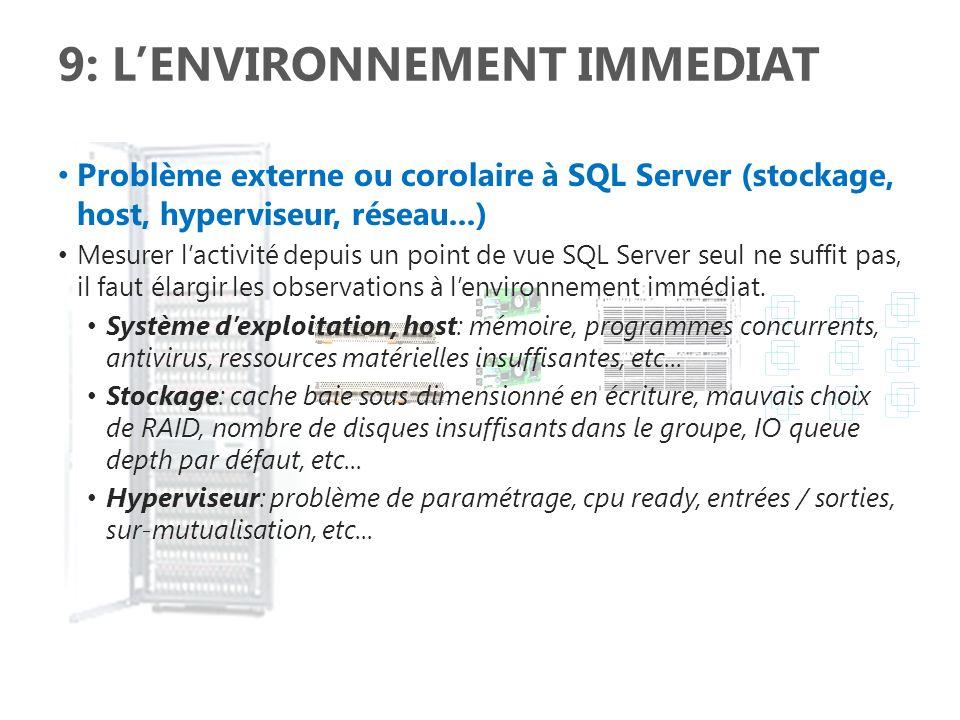 9: LENVIRONNEMENT IMMEDIAT Problème externe ou corolaire à SQL Server (stockage, host, hyperviseur, réseau...) Mesurer lactivité depuis un point de vu