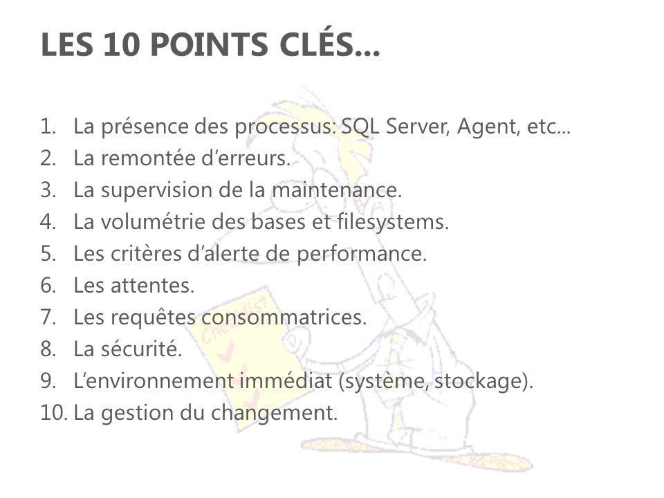 LES 10 POINTS CLÉS... 1.La présence des processus: SQL Server, Agent, etc... 2.La remontée derreurs. 3.La supervision de la maintenance. 4.La volumétr
