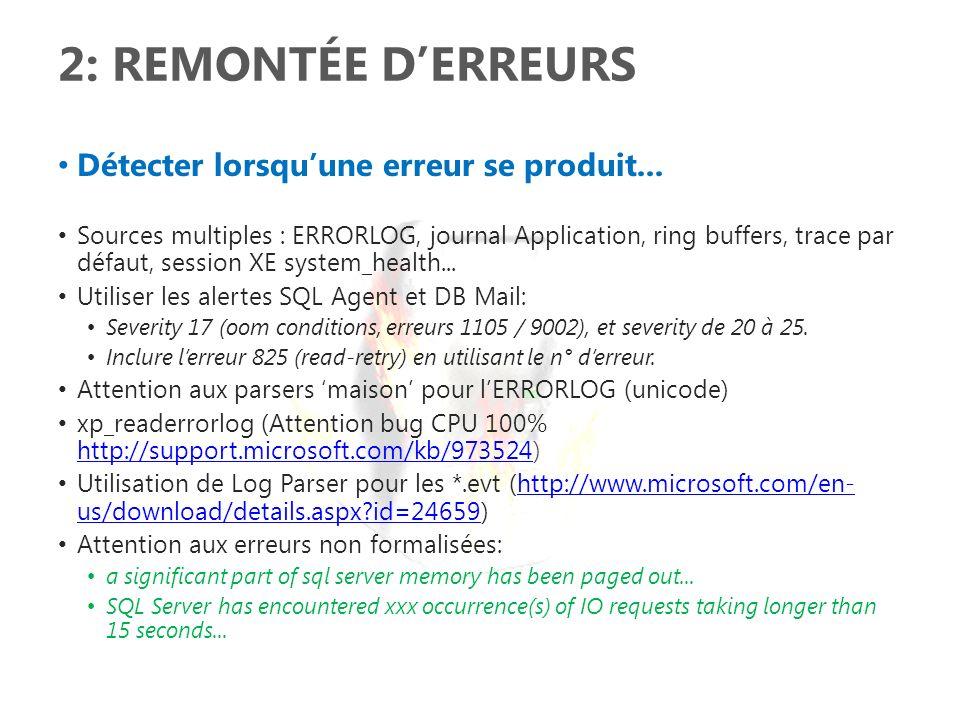 3: SUPERVISER LA MAINTENANCE Connaître létat des tâches de maintenance: backup, rebuild index, statistiques, dbcc checkdb...