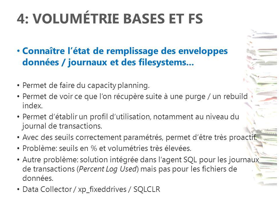 4: VOLUMÉTRIE BASES ET FS Connaître létat de remplissage des enveloppes données / journaux et des filesystems... Permet de faire du capacity planning.