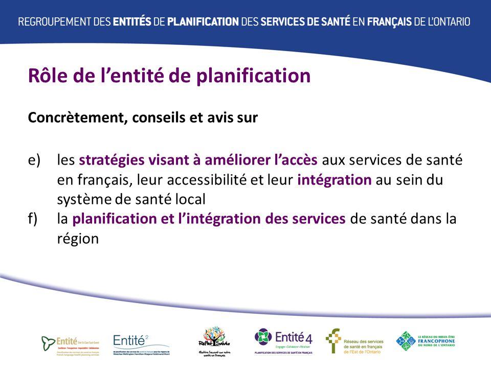 Rôle de lentité de planification Concrètement, conseils et avis sur e) les stratégies visant à améliorer laccès aux services de santé en français, leur accessibilité et leur intégration au sein du système de santé local f) la planification et lintégration des services de santé dans la région