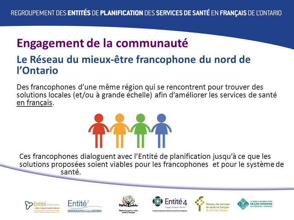 Engagement de la communauté Le Réseau du mieux-être francophone du nord de lOntario Des francophones dune même région qui se rencontrent pour trouver des solutions locales (et/ou à grande échelle) afin daméliorer les services de santé en français.