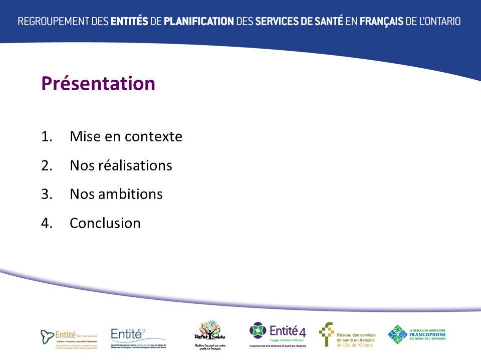 Recommandations aux RLISS Amélioration continue des services de santé en français en collaboration avec les partenaires Planification des services Engagement de la communauté Champs daction des Entités de planification