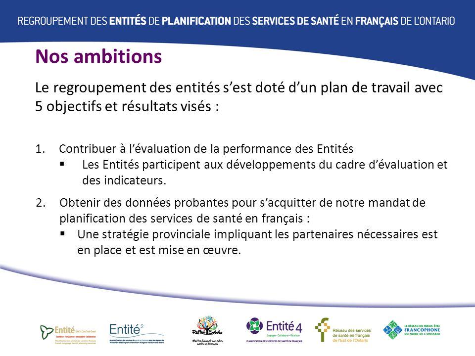 Nos ambitions Le regroupement des entités sest doté dun plan de travail avec 5 objectifs et résultats visés : 1.Contribuer à lévaluation de la performance des Entités Les Entités participent aux développements du cadre dévaluation et des indicateurs.