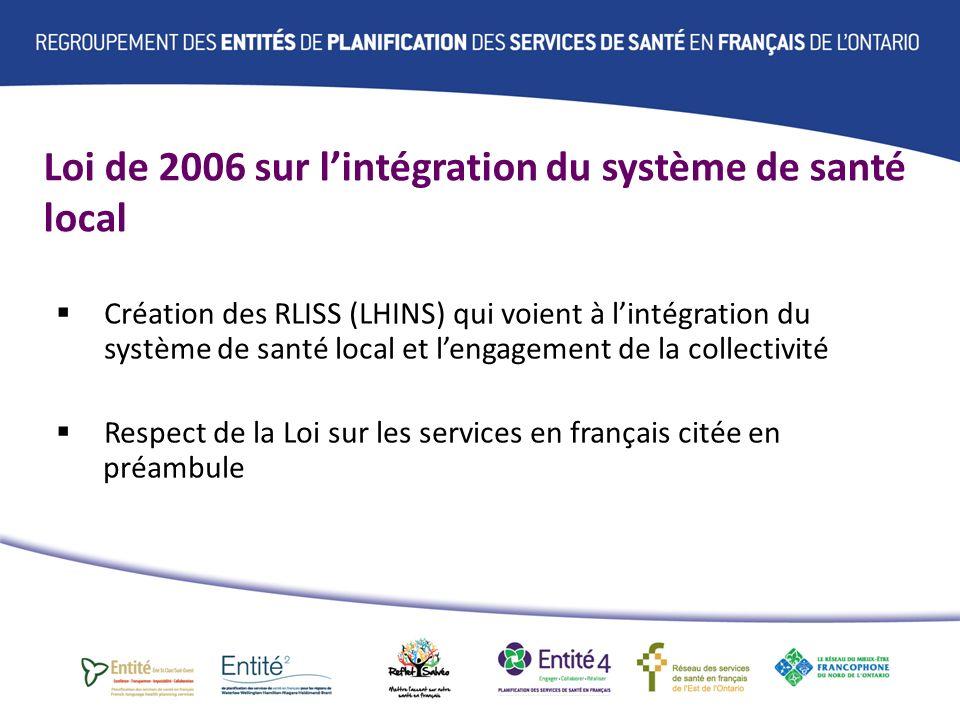 Loi de 2006 sur lintégration du système de santé local Création dun conseil consultatif provincial à la ministre de la Santé et des Soins de longue durée sur la question des services de santé en français