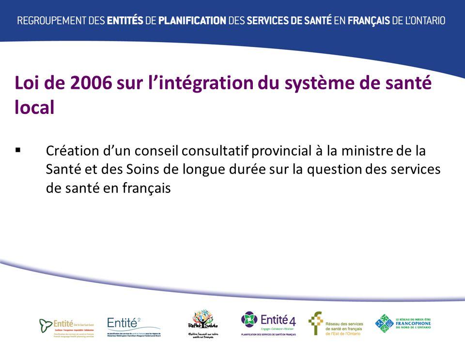 Loi de 2006 sur lintégration du système de santé local Obligation dengagement de la collectivité francophone sur les priorités du système de santé local par le biais de « lEntité de planification des services de santé en français »