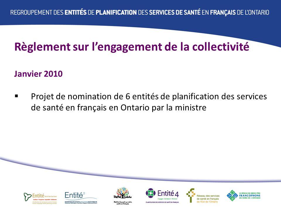 Règlement sur lengagement de la collectivité Juillet 2010 Nomination du Réseau des services de santé en français de lEst de lOntario et du Réseau du mieux-être francophone comme Entité de planification Décembre 2010 Nomination des 4 Entités dans le Sud