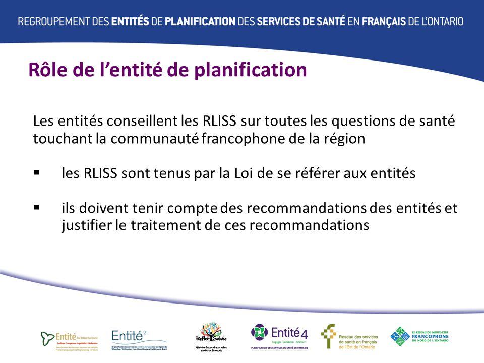 Rôle de lentité de planification Concrètement, conseils et avis sur a)les façons dengager la collectivité francophone de la région b)les besoins et priorités de la collectivité francophone de la région en matière de santé