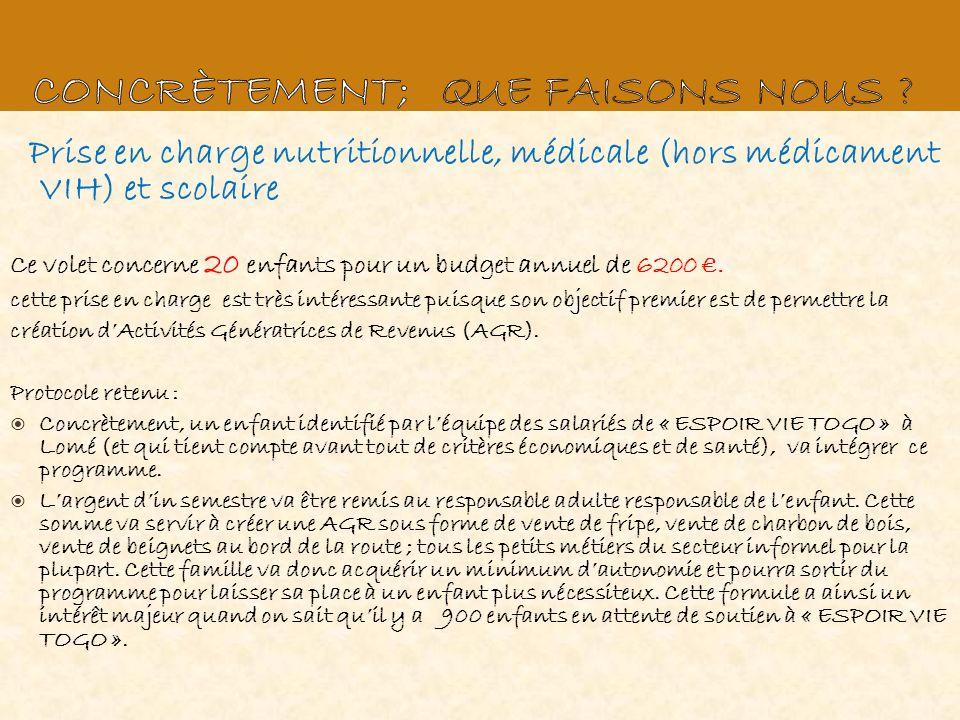 Prise en charge nutritionnelle, médicale (hors médicament VIH) et scolaire Ce volet concerne 20 enfants pour un budget annuel de 6200. cette prise en