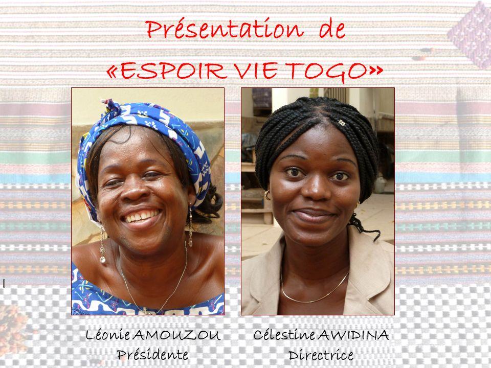 Présentation de «ESPOIR VIE TOGO » Léonie AMOUZOU Présidente Célestine AWIDINA Directrice