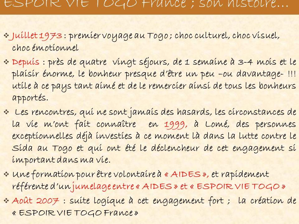 Juillet 1973 : premier voyage au Togo ; choc culturel, choc visuel, choc émotionnel Depuis : près de quatre vingt séjours, de 1 semaine à 3-4 mois et