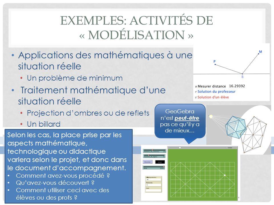 EXEMPLES: ACTIVITÉS DE « MODÉLISATION » Applications des mathématiques à une situation réelle Un problème de minimum Traitement mathématique dune situ