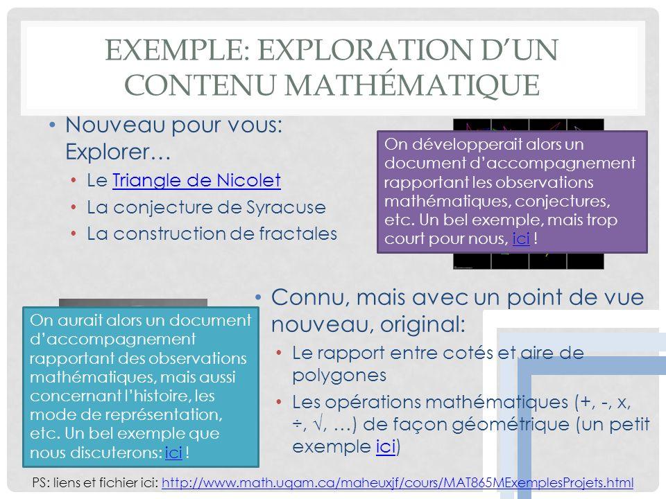 EXEMPLE: EXPLORATION DUN CONTENU MATHÉMATIQUE Nouveau pour vous: Explorer… Le Triangle de NicoletTriangle de Nicolet La conjecture de Syracuse La construction de fractales PS: liens et fichier ici: http://www.math.uqam.ca/maheuxjf/cours/MAT865MExemplesProjets.htmlhttp://www.math.uqam.ca/maheuxjf/cours/MAT865MExemplesProjets.html On développerait alors un document daccompagnement rapportant les observations mathématiques, conjectures, etc.