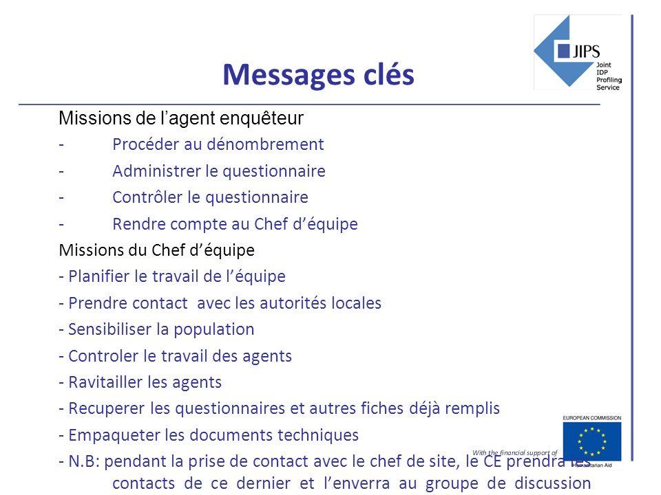 Messages clés Missions de lagent enquêteur -Procéder au dénombrement -Administrer le questionnaire -Contrôler le questionnaire -Rendre compte au Chef