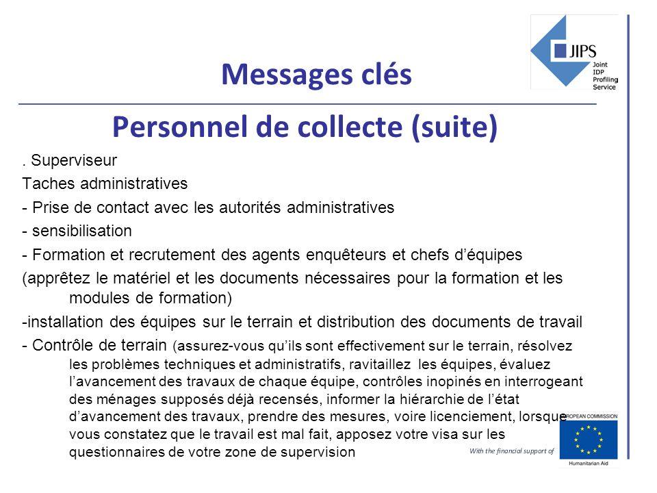 Messages clés Personnel de collecte (suite). Superviseur Taches administratives - Prise de contact avec les autorités administratives - sensibilisatio