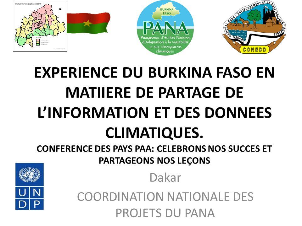 EXPERIENCE DU BURKINA FASO EN MATIIERE DE PARTAGE DE LINFORMATION ET DES DONNEES CLIMATIQUES.