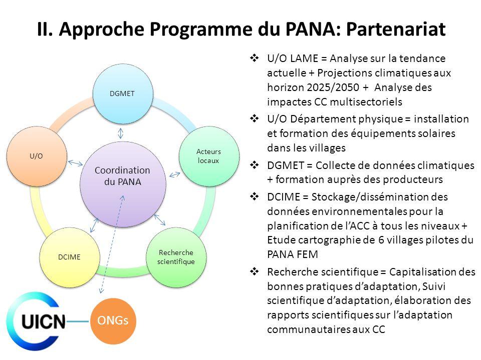Coordination du PANA DGMET Acteurs locaux Recherche scientifique DCIMEU/O II. Approche Programme du PANA: Partenariat U/O LAME = Analyse sur la tendan