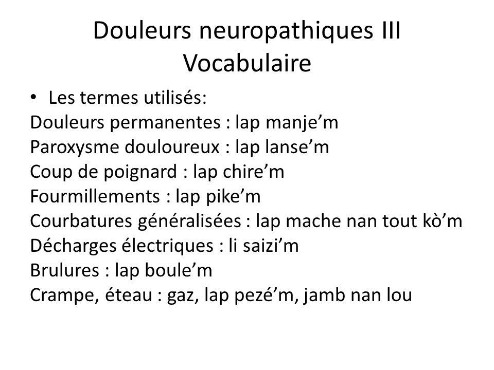 Douleurs neuropathiques III Vocabulaire Les termes utilisés: Douleurs permanentes : lap manjem Paroxysme douloureux : lap lansem Coup de poignard : la