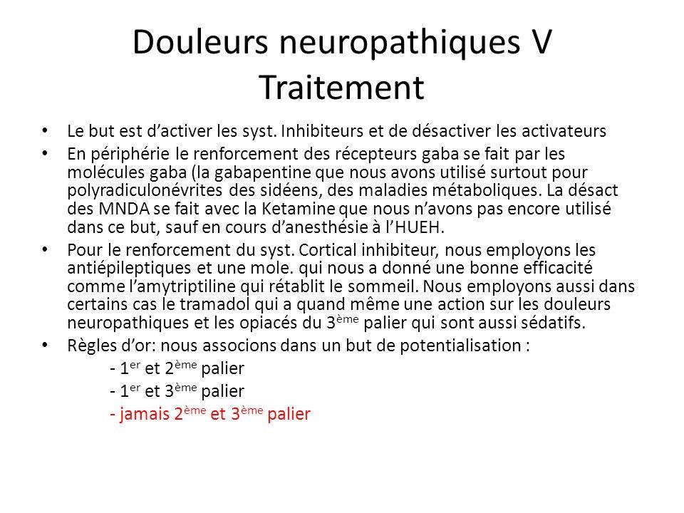 Douleurs neuropathiques V Traitement Le but est dactiver les syst. Inhibiteurs et de désactiver les activateurs En périphérie le renforcement des réce