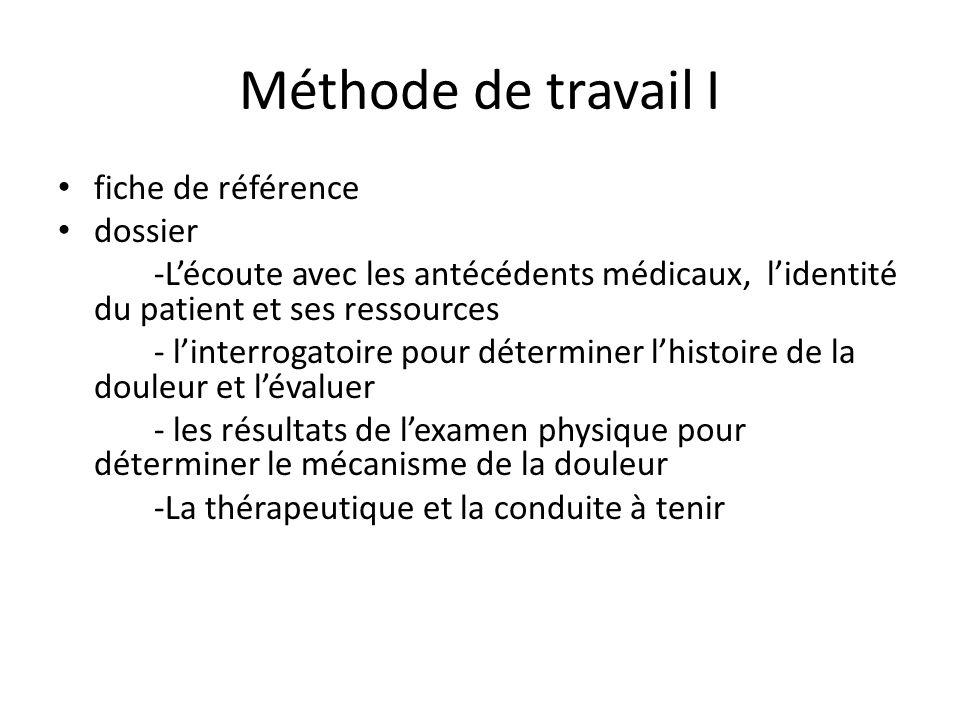 Méthode de travail I fiche de référence dossier -Lécoute avec les antécédents médicaux, lidentité du patient et ses ressources - linterrogatoire pour