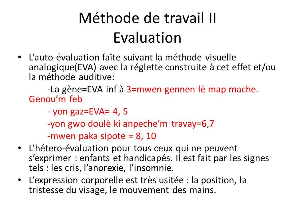 Méthode de travail II Evaluation Lauto-évaluation faîte suivant la méthode visuelle analogique(EVA) avec la réglette construite à cet effet et/ou la m