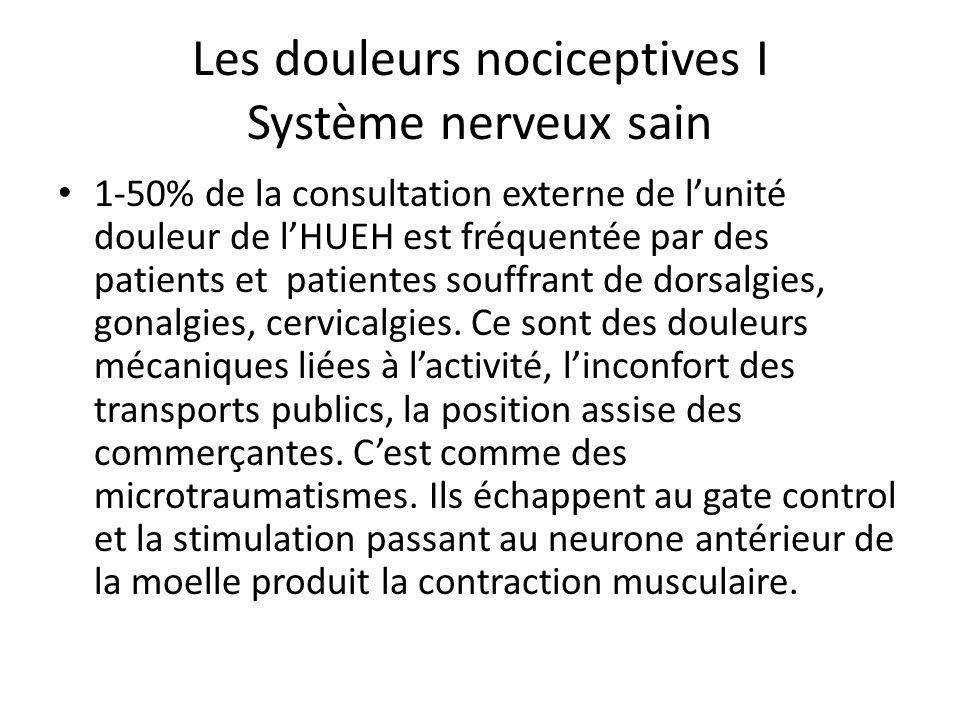 Les douleurs nociceptives I Système nerveux sain 1-50% de la consultation externe de lunité douleur de lHUEH est fréquentée par des patients et patien