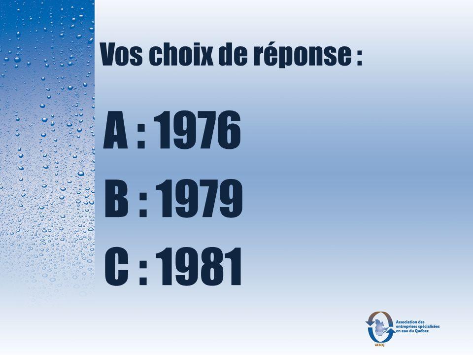 Vos choix de réponse : A : 1976 B : 1979 C : 1981
