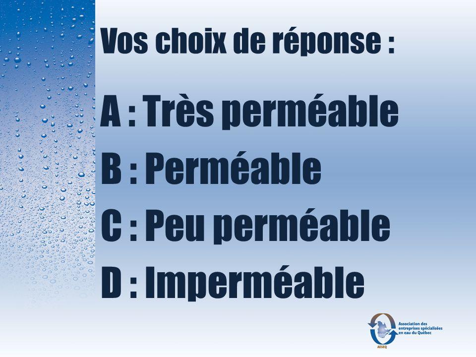 Vos choix de réponse : A : Très perméable B : Perméable C : Peu perméable D : Imperméable