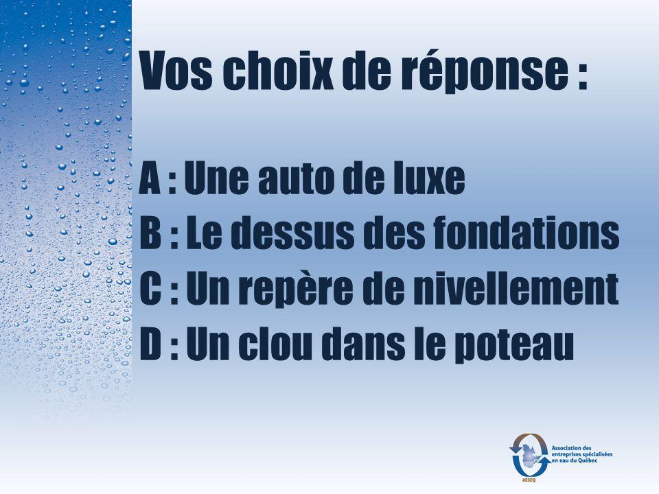 Vos choix de réponse : A : Une auto de luxe B : Le dessus des fondations C : Un repère de nivellement D : Un clou dans le poteau