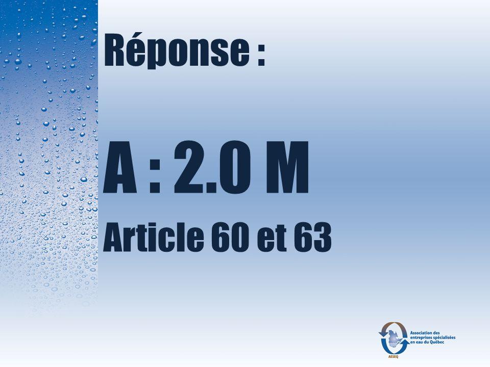 Complétez le texte suivant : Le règlement sur ________ et le ___________ des eaux ____ des résidences __________.
