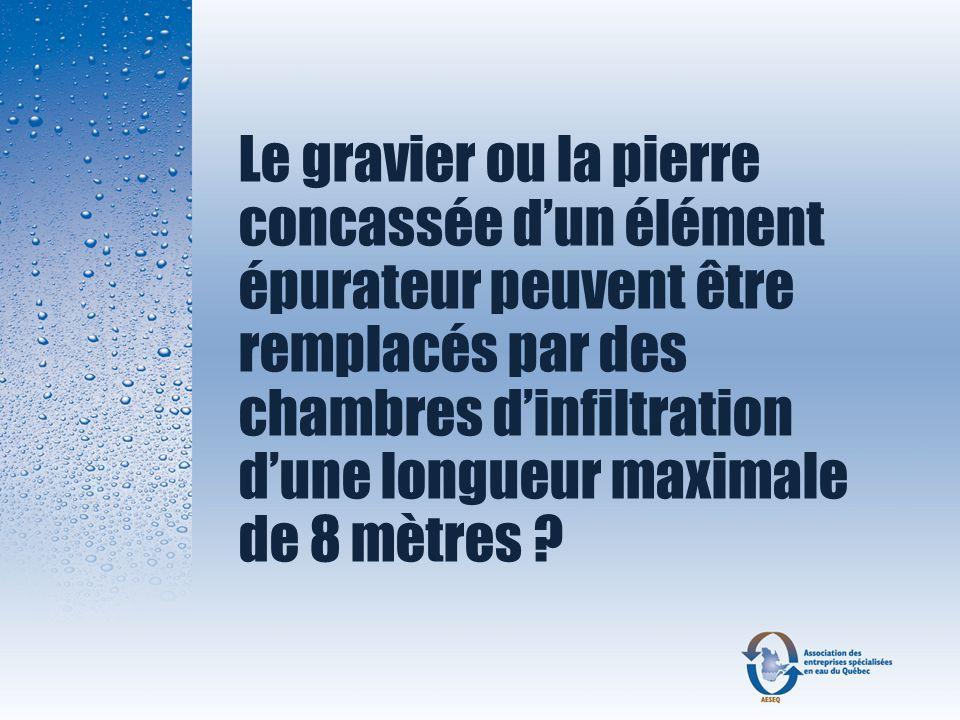 Le gravier ou la pierre concassée dun élément épurateur peuvent être remplacés par des chambres dinfiltration dune longueur maximale de 8 mètres ?