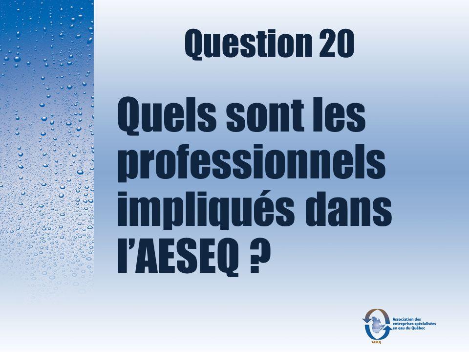 Question 20 Quels sont les professionnels impliqués dans lAESEQ ?