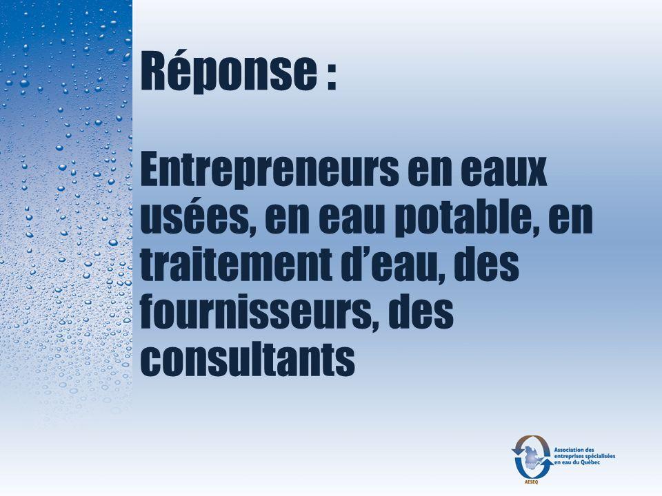 Réponse : Entrepreneurs en eaux usées, en eau potable, en traitement deau, des fournisseurs, des consultants