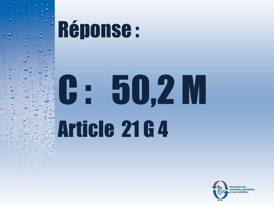 Réponse : C : 50,2 M Article 21 G 4