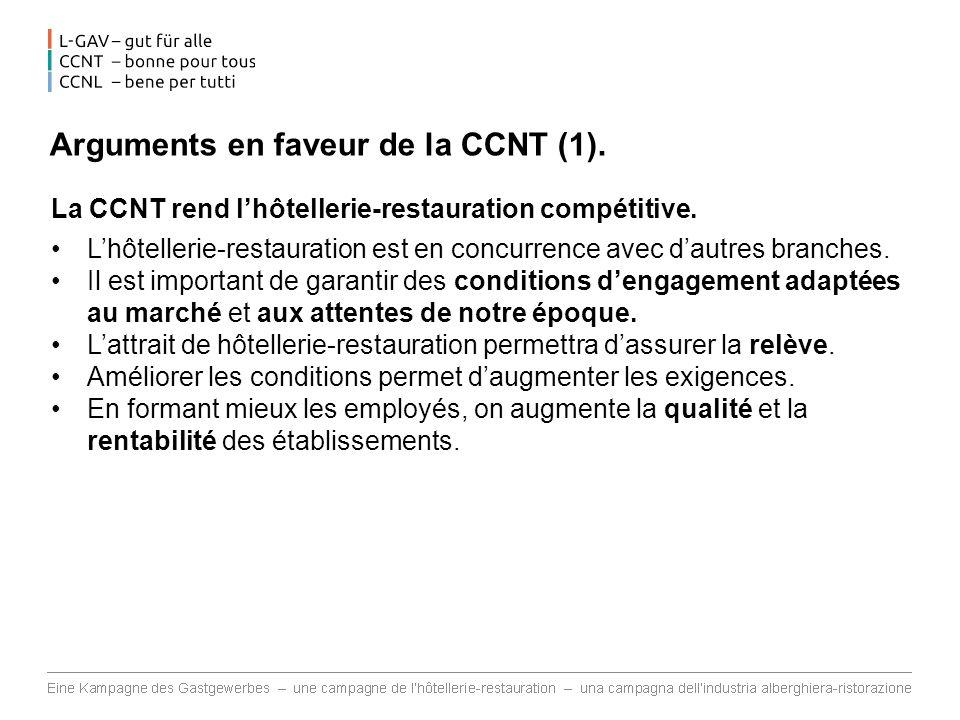 Arguments en faveur de la CCNT (1).La CCNT rend lhôtellerie-restauration compétitive.