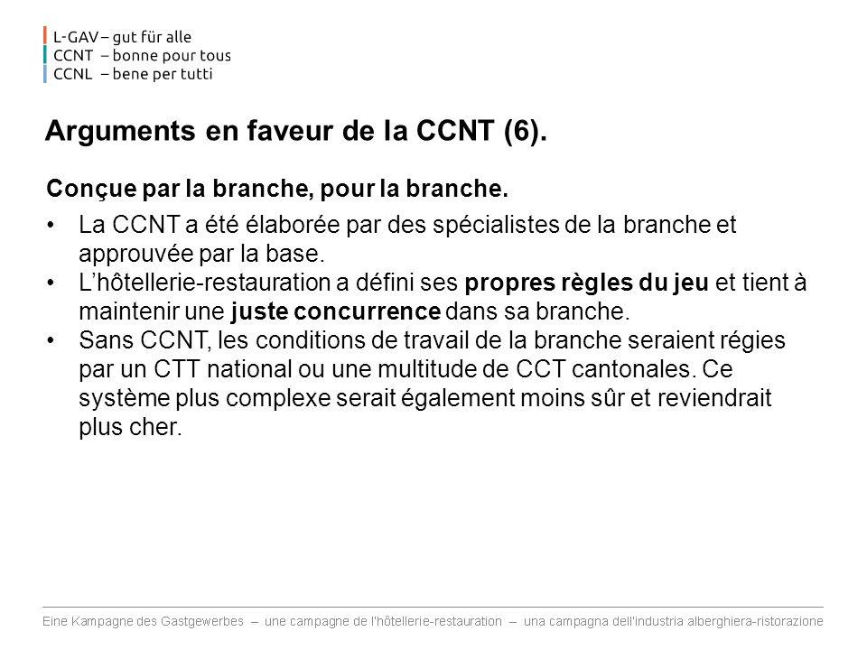 Arguments en faveur de la CCNT (6).Conçue par la branche, pour la branche.