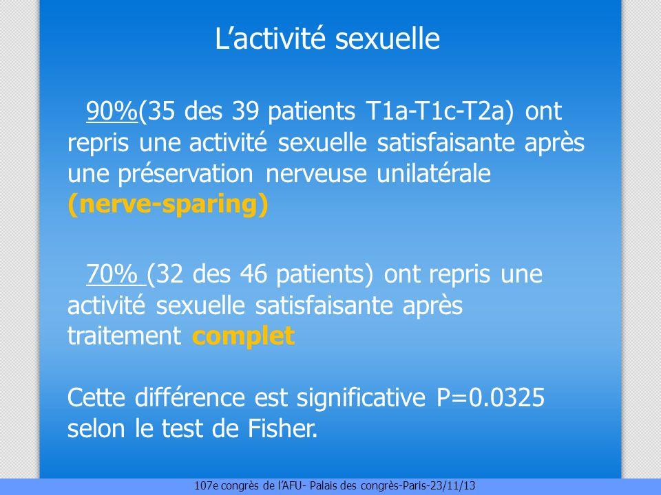 Lactivité sexuelle 90%(35 des 39 patients T1a-T1c-T2a) ont repris une activité sexuelle satisfaisante après une préservation nerveuse unilatérale (ner