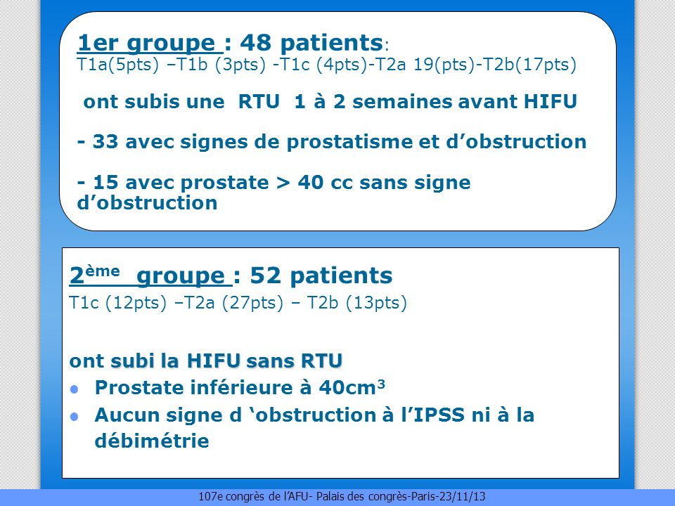 1er groupe : 48 patients : T1a(5pts) –T1b (3pts) -T1c (4pts)-T2a 19(pts)-T2b(17pts) ont subis une RTU 1 à 2 semaines avant HIFU - 33 avec signes de pr
