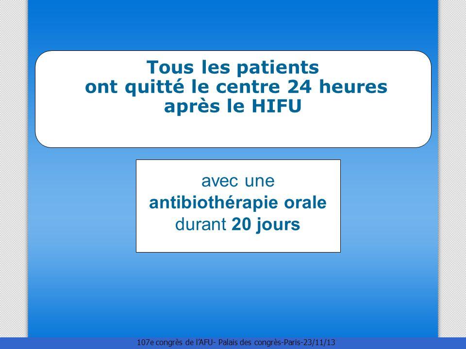 Tous les patients ont quitté le centre 24 heures après le HIFU avec une antibiothérapie orale durant 20 jours 107e congrès de lAFU- Palais des congrès