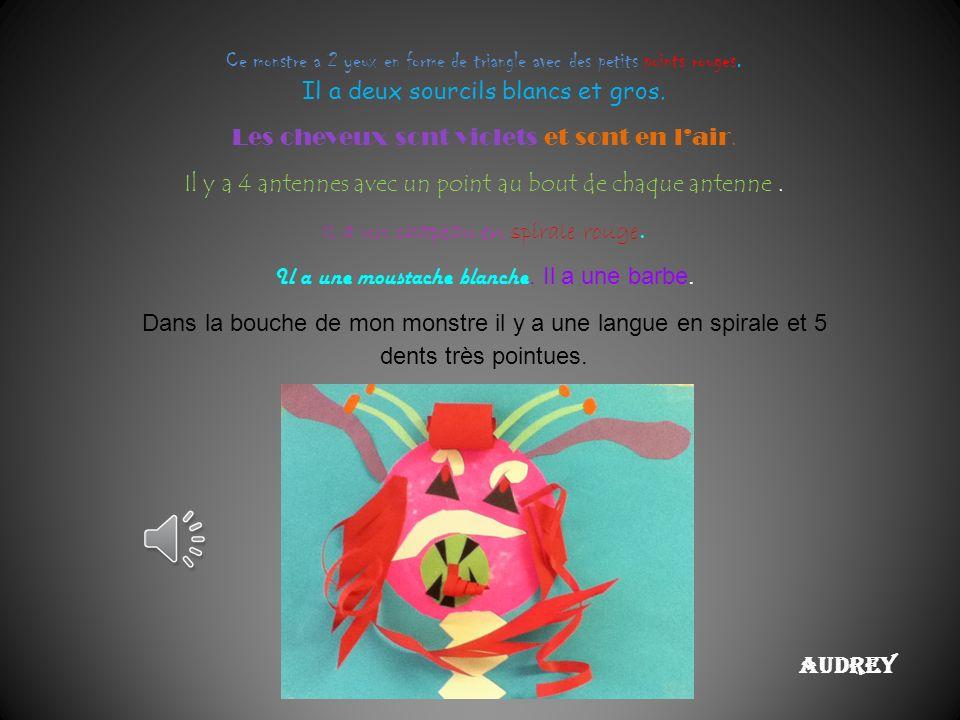 Audrey Ce monstre a 2 yeux en forme de triangle avec des petits points rouges.